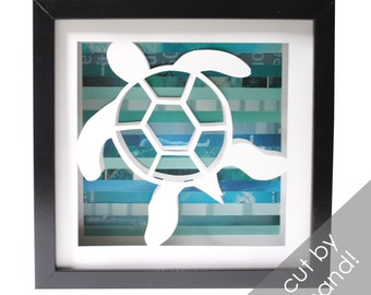 Hawaiian sea turtle- shadowbox made from recycled magazines, hawaii, beach, green sea turtle