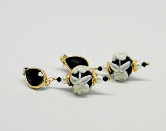 Lampwork earrings,Multi color earrings,24kt Vermeil Gold Earrings,Glass Bead Earrings,Pearl earrings,crystal earrings