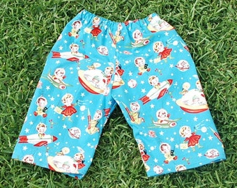 Hippie baby pants - Spaceship Baby - size 6 to 9 months   -read measurements