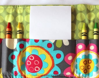 Crayon Wallet - Bright Flower Gray - A Montessori and Waldorf Inspired Travel Toy for Self Guided Art