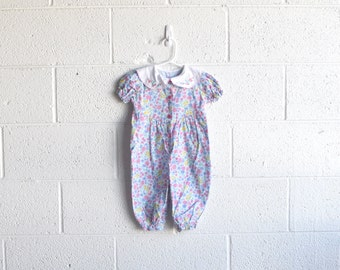 vintage girls flower one piece jumper with a peter pan collar 18-24 months