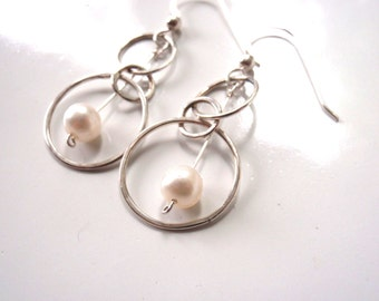 Pearl and Silver Earrings, 3 Hoops Slightly Hammered