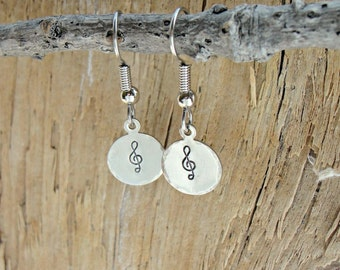 Metal stamped Jewelry - Hand Stamped Jewelry - Metal Stamped - Treble Clef Earrings