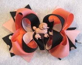 Pink Black and Coral Poodle Puppy Boutique Hair Bow 3 Layers of Ribbon and Spikes Funky Hairbow