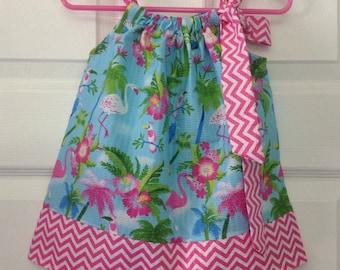READY TO SHIP Chevron Flamingo Pillowcase Dress Size 6 months