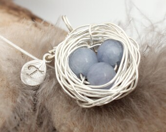 Personalized bird nest necklace with three aquamarine eggs and initial charm- silver plated woven wire- March birthstone- crystal healing