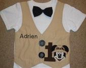 Boys Mouse Safari  Vest and Bowtie Shirt