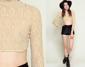 Sheer Lace Shirt Crop Top 90s Long Sleeve Blouse Grunge Cream Turtleneck 1990s Vintage CROPPED see through High Neck Hipster Small XS