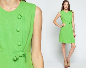 60s Dress BUTTON Up Mini Babydoll Mod BOW Lime Green 1960s Vintage Boho Empire Waist Mad Men Sleeveless Sixties Minidress Medium Large