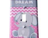Decor Doodles™ #L19 Elephant light switch cover Bedroom decoration girl nursery decor Custom light switch plate pink gray