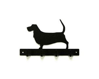 Basset Hound Dog Metal Art Leash or Key Rack - Free USA Shipping