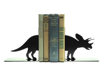 Triceratops Metal Art Bookends - Free USA Shipping