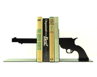Pistol Metal Art Bookends - Free USA Shipping