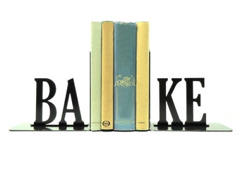 Bake Text Metal Art Bookends - Free USA Shipping