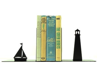 Lighthouse Metal Art Bookends - Free USA Shipping