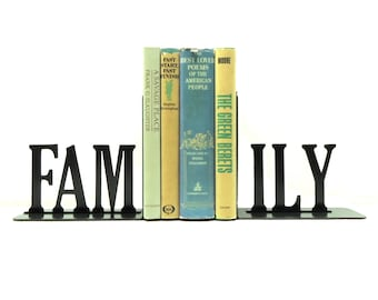 Family Text Metal Art Bookends - Free USA Shipping
