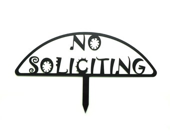 Funky No Soliciting Metal Art Sign - Free USA Shipping