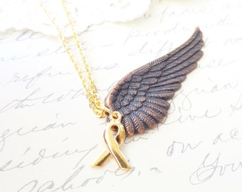 Angel Wing Cancer Ribbon Charm Necklace - Copper Wing - Bird Wing - Gold Cancer Ribbon - Hope - Cancer Awareness - Breast Cancer