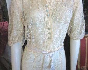 1930s Blonde Aloe Vera Lace Dress With Tiny Aqua Velvet Buttons 38 Bust
