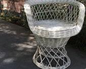 WICKER VANITY STOOL White Wicker Stool White Wicker Chair Vintage Wicker Arm Chair at A Vintage Revolution