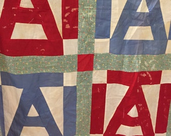 QUILT TOP LETTER A Vintage Quilt for Nursery Decor, Home Decor or Shop Decor Cottage Chic, Farmhouse Decor, Wall Hanging
