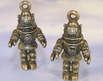 2 Robot Charms Robby Robot Bronze Pewter (31521) Alien UFO Outer Spacer Retro Robot Geekery Jewelry Making Supplies Big Bang