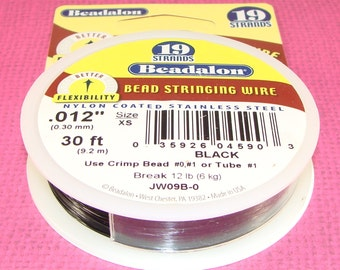 """BLACK Beadalon Bead Stringing Wire Spool .012"""" 30 ft 19 Strand Jewelry Supplies Wire Nylon Coated Stainless Steel for Necklaces & Bracelets"""