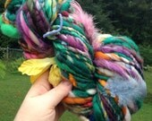RESERVED RESERVED Art Yarn 82 yds 6.5 oz skein handspun, homespun, thick and thin, multicolored, overgrown end of blossom summer