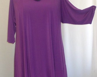 Coco and Juan Lagenlook Plus Size Asymmetric Tunic Top Purple Knit Size 1 (fits 1X,2X)  Bust 50 inches