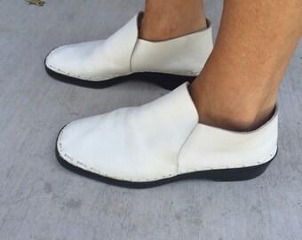 Vintage Funky 1960s Bally White Leather Mandatin Chukka Boot sz 41
