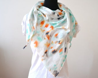 XXL TRIANGLE SCARF soft cotton shawl extra large with print in white orange mint green and black for spring summer fall trend