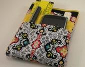 Nurse scrubs pocket organizer, purse organizer, lab coat pocket organizer- New design - Made to Order- Swirly Girl Print with Yellow