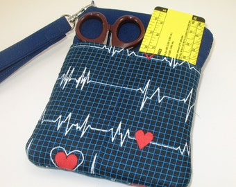 Nurse or Doctor Pocket Organizer Zip Close with options of cross body strap or wristlet.  Made to Order- Calling all Nurses Fabric