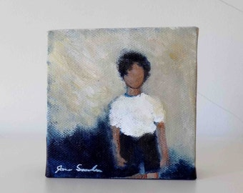 Boy In A White Shirt - Small Original Painting On Canvas
