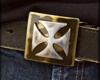 Iron Cross Buckle/ Gold Iron Cross Metal Belt Buckle Handmade by WATTO Distinctive MetallWear / Mens Buckles / Buckle for Men /Gifts for Him
