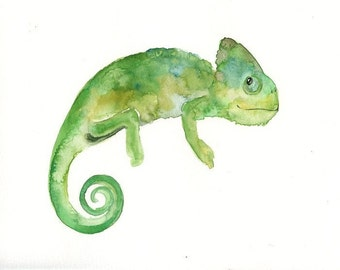 CHAMELEON Original watercolor painting 10x8inch