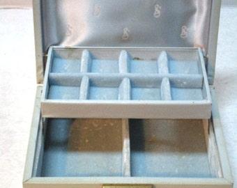 Sweet Vintage Jewelry Box, Baby Blue w/ White Edge Design Hinged Lid, Velvet / Satin Lining, Dress Up, Spring Fling Provincial