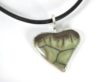 Sterling silver spiderweb jasper necklace natural stone cabochon, heart pendant,  green jasper, artisan design,trending minimal design