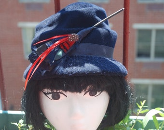 Vintage 1940s Glenover Henry Pollak Navy Blue Vintage Hat with Red Feather Accents