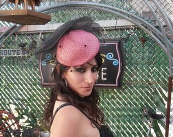 Vintage Sixties Pink and Black Extravaganza Hat by Mr Charles