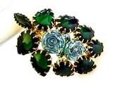 Vintage Brooch Green Rhinestones Blue Art Glass Retro 1940 Art Deco Costume Jewelry
