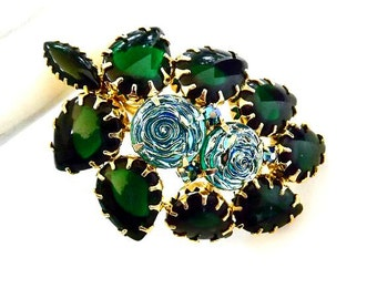 Vintage Brooch Green Rhinestones Blue Art Glass Retro 1940 Art Deco Costume Jewelry
