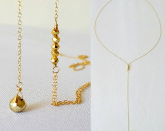 SPECIAL PRICE! Delicate gold lariat y necklace. Minimalist. Layering. Dainty. Simple. Pyrite. Everyday. Long. Trendy. Teardrop. Wire wrap. E