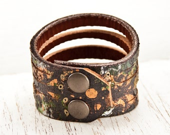 Nature Jewelry Leather Cuff - Earth Tones Earthy Rustic - Women's Tattoo Cover - Forest Natural Earthtones Leather Bracelets Wristbands