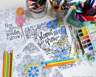 Set of three printable Coloring Pages, Adult Coloring Page, Digital, Instant Download, Illustration, Illustrated Flowers
