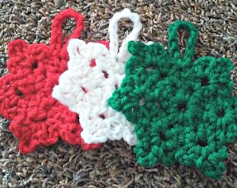 Yarn Snowlfkae - Crochet Snowflake - Christmas Ornaments - Tree Decorations - Christmas Snowflakes - Winter Decorations - Handmade Ornament