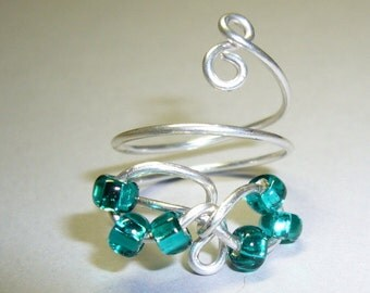 Eternity Toe Ring, Your Color Choice Floating Glass Beads, Sterling Silver