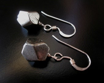 Faceted Pyrite Earrings, Pyrite Nuggets Sterling Silver, Pyrite Earrings, Fool's Gold Earrings, Pyrite Jewelry, Silver Pyrite Dangle