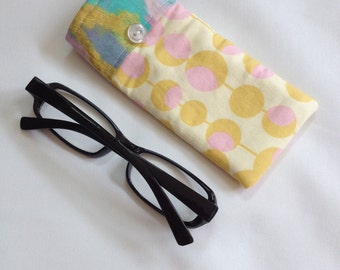 Reading Glasses Case - mustard yellow and pink olives cotton, small, soft eyeglasses sleeve, readers cozy, travel accessory for purse, gift