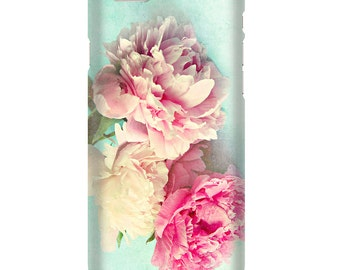 "Floral phone case, pink peonies,iphone 4,5,6 Samsung S3, S4, S5 case, ""like yesterday""aqua,flower,girly,shabby chic,pastel phone case"